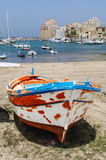 Italy, Sicily, Castellammare del Golfo. Renovated fishing boat on the shore in Sicily Royalty Free Stock Images