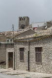 Italy, Sicily, Erice,. Historic houses in the town of Erice in Sicily Royalty Free Stock Photo