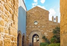 The beauty of art and nature of the Agrigento province. Italy, Sicily island, Agrigento, view of the entrance facade of the St.Maria Dei Greci church stock photography
