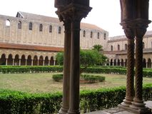 Monreale Cloister Cathedral Italy Sicily Medieval stock photo