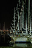 Italy, Sicily, Palermo. Harbor of Palermo in Sicily at night, Italy Royalty Free Stock Images