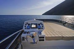 Italy, Sicily, Stromboli Island, luxury yacht royalty free stock image