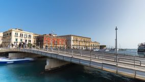 Italy, Sicily, Syracuse old town,Bridge Europe stock footage