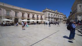 Italy, Sicily, Syracuse old town, typical restaurant main square stock video