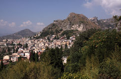 Italy Sicily Taormina. Panoramic view from the amphitheatre Stock Photo