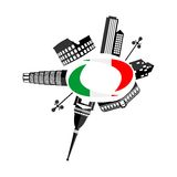 Italy sights and flag Stock Images