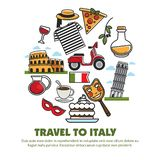 Italy sightseeing landmarks and famous travel attractions poster. Vector symbols of Italian flag, Rome cathedral and Pisa tower or Coliseum, Venetian carnival stock illustration