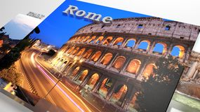 Italy sightseeing in slideshow like set photos. And 3d text Royalty Free Stock Photos