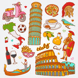 Italy Sketch Illustration, Set Of Hand Drawn Vector Doodle Italy Elements, Italy Symbols Collection Stock Image