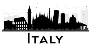 Italy skyline black and white silhouette. Royalty Free Stock Photos
