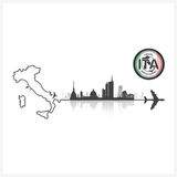 Italy Skyline Buildings Silhouette Background Stock Photos
