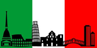 Italy skyline and flag Royalty Free Stock Image