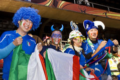 Italy Soccer Supporters - FIFA WC. Asian fans supporting Italy Stock Photos
