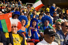 Italy Soccer Supporters - FIFA WC. Hordes of soccer fanatics, supporting Italy, dressed up in fancy dress costume to show support for the team at the 2010 FIFA Stock Photography