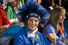 Italy Soccer Supporters - FIFA WC. Soccer fanatics, supporting Italy, dressed up in fancy dress costume to show support for the team at the 2010 FIFA soccer Royalty Free Stock Image