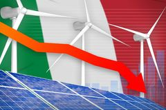 Italy solar and wind energy lowering chart, arrow down - environmental natural energy industrial illustration. 3D Illustration. Italy solar and wind energy stock illustration