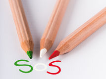 Italy sos. Green white and red pencil asking for help royalty free stock image