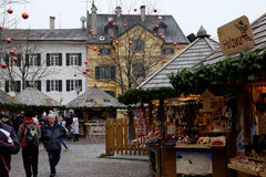 Italy, South Tyrol, Bressanone, square with Christmas market stock image