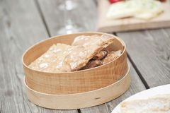 Italy, South Tyrol, Crispbread in box on table royalty free stock photography