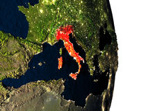 Italy from space during dusk Royalty Free Stock Photos
