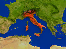 Italy from space in red Royalty Free Stock Image