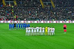 Italy and Spain football national teams observe a minute of silence Royalty Free Stock Images