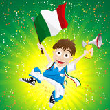Italy Sport Fan with Flag and Horn Stock Photo