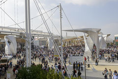 Italy square crowded with visitors , EXPO 2015 Milan Royalty Free Stock Photo