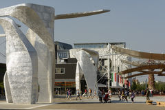 Italy square sculptures , EXPO 2015 Milan Stock Photography