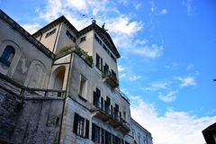 Lake Orta Italy. Italy square sky windows cloud tower colors country road street courts green door panorama sunset courts sleep square Royalty Free Stock Images