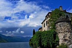 Lake Orta Italy. Italy square sky windows cloud tower colors country road street courts green door panorama sunset courts sleep square Stock Photography
