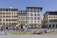 Italy. Squire near Basilica di Santa Croce in Florence, Tuscany. View of Piazza Santa Croce with famous Basilica di Santa Croce in Florence, Tuscany, Italy Royalty Free Stock Image