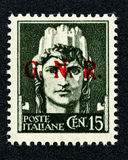 1943 Italy stamp: 15 Cent. overprint GNR Stock Photos