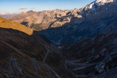 Italy, Stelvio National Park. Famous road to Stelvio Pass in Ortler Alps. stock images