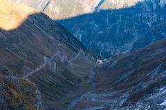 Italy, Stelvio National Park. Famous road to Stelvio Pass in Ortler Alps stock photo