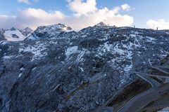 Italy, Stelvio National Park. Famous road to Stelvio Pass in Ortler Alps stock photography