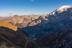 Italy, Stelvio National Park. Famous road to Stelvio Pass in Ortler Alps royalty free stock photos