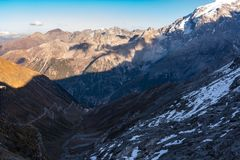Italy, Stelvio National Park. Famous road to Stelvio Pass in Ortler Alps. royalty free stock images