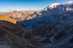 Italy, Stelvio National Park. Famous road to Stelvio Pass in Ortler Alps. stock photography