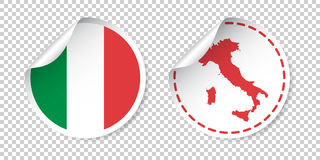 Italy sticker with flag and map. Label, round tag with country. vector illustration