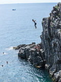 Italy 2017 Swan Dive. Swan Dive From High Cliffs Cinque Terre Five Lands Italian Riviera Mediterranean Gulf Riomaggiore royalty free stock images