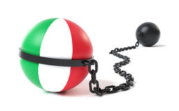 Italy tied to a Ball and Chain Royalty Free Stock Images