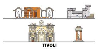 Italy, Tivoli flat landmarks vector illustration. Italy, Tivoli line city with famous travel sights, skyline, design. Italy, Tivoli flat landmarks vector vector illustration