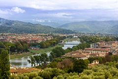 Florence panoramic view of the outskirt and the river. Italy, Toscana, Florence panoramic view of the outskirt and the river Royalty Free Stock Images