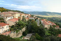 Italy. Toscana. Panorama of Cortona. Sunset Royalty Free Stock Image