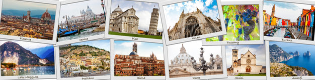 Italy Tour Photo Collage. Photo prints collage of popular tourist destinations in Italy royalty free stock photo
