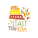 Italy tourism logo template hand drawn vector Illustration Royalty Free Stock Image