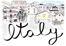 Italy town landscape. Italy sketch card vector hand drawn Stock Photo
