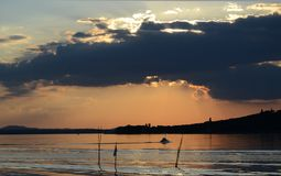 Italy, Trasimeno lake landscape at sunset stock photos
