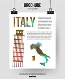 Italy travel background. Brochure with Italy  map Royalty Free Stock Photos